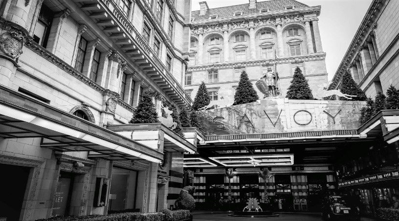 Front Entrance of the Savoy hotel in London