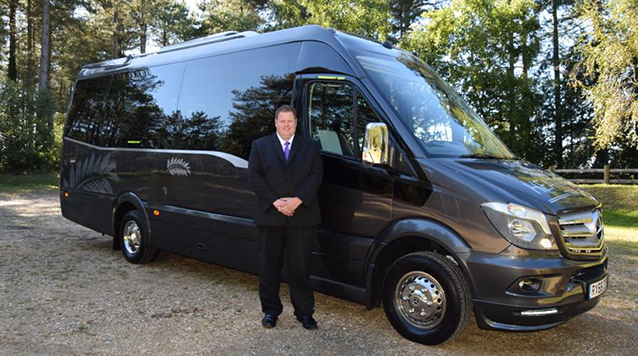 Mercedes Mini Coach wedding car for hire in Ferndown, Dorset