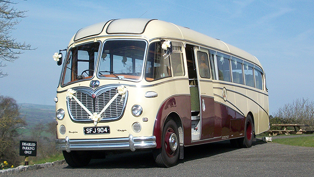 Bedford SB Coach wedding car for hire in Stalbridge, Dorset