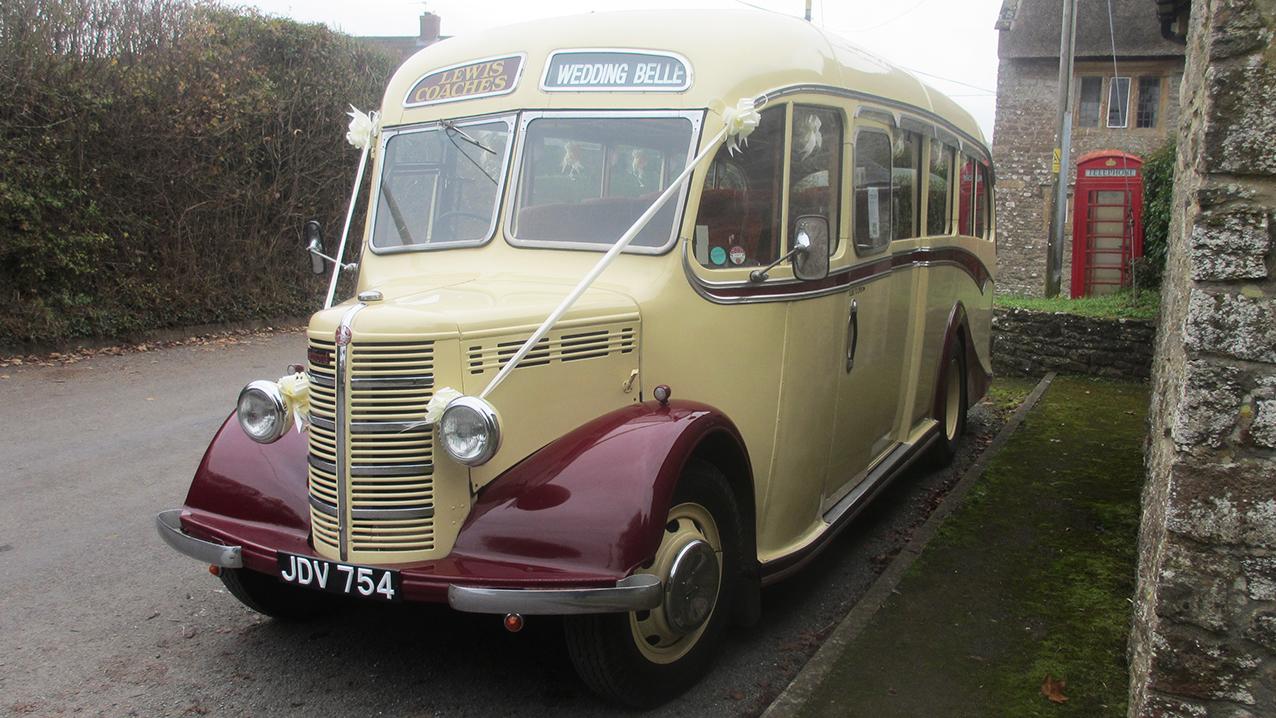 Bedford OB Coach wedding car for hire in Stalbridge, Dorset
