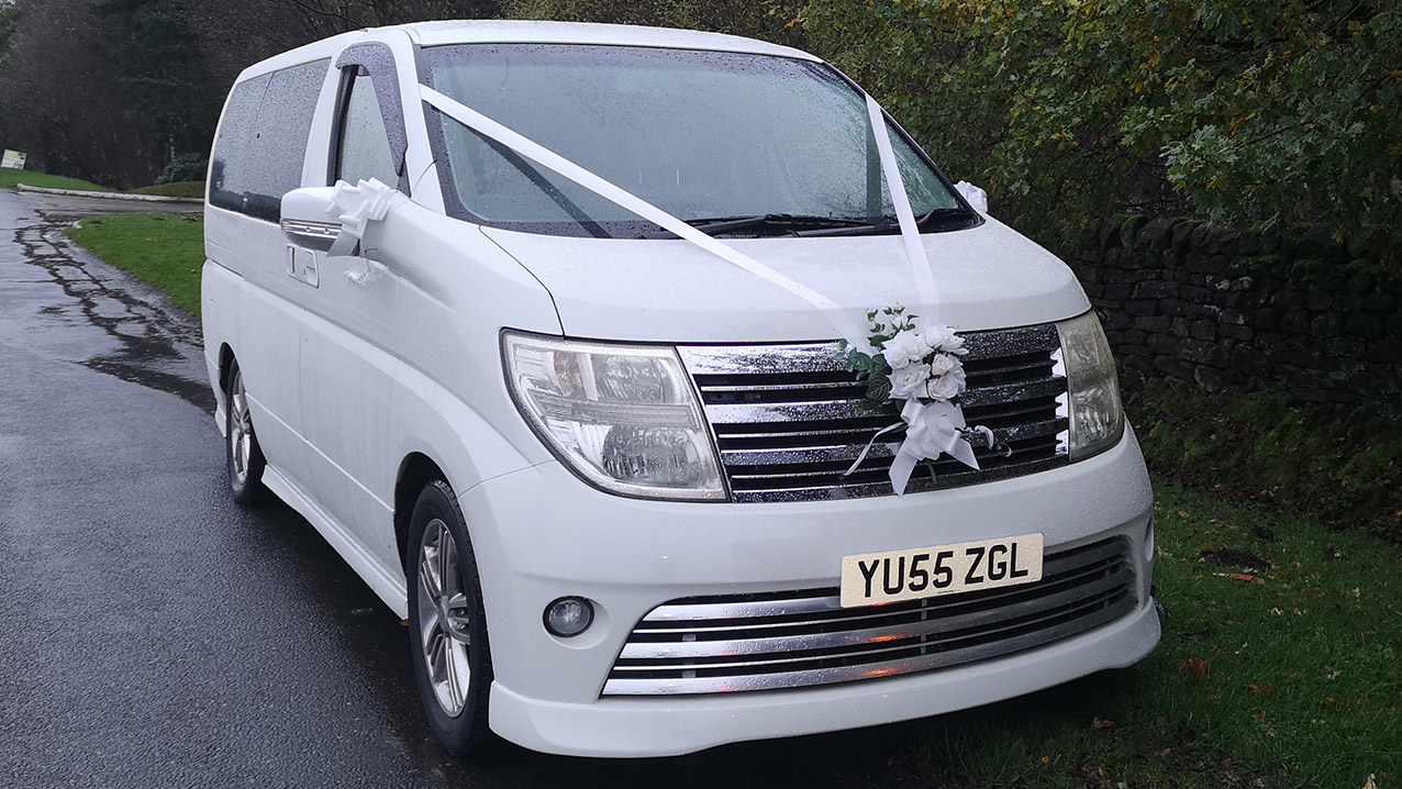 Nissan Elgrand Rider Autech wedding car for hire in Barnsley, South Yorkshire