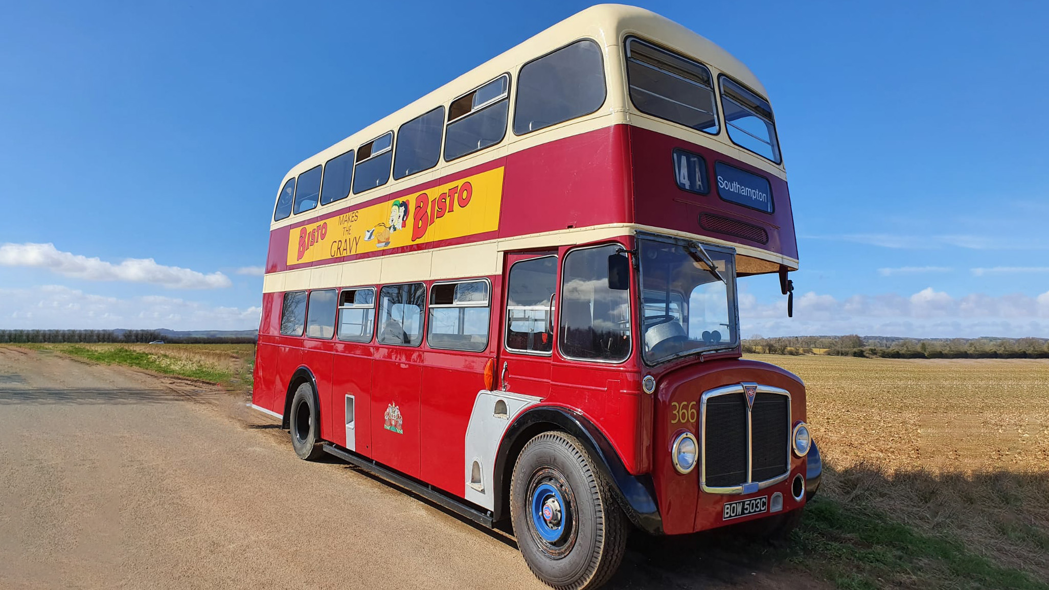 AEC Regent V Double Deck Bus wedding car for hire in Moreton-in-Marsh, Gloucestershire