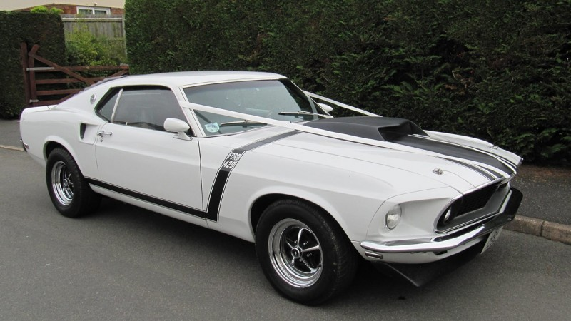 Ford Mustang wedding car for hire in Launceston, Devon