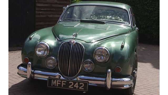 Jaguar MKII wedding car for hire in Lewes, East Sussex