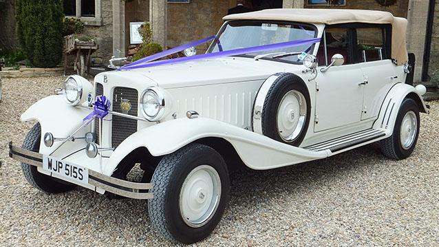 Beauford 4 Door Convertible wedding car for hire in Launceston, Devon