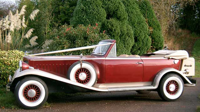 Beauford 'Great Gatsby' Convertible wedding car for hire in Exeter, Devon