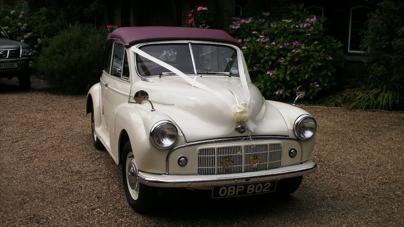 Morris Minor Convertible wedding car for hire in Swanage, Dorset