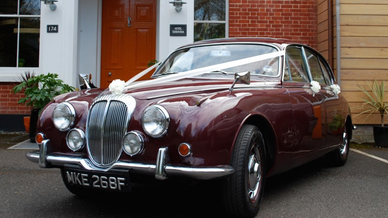 Daimler 250 V8 wedding car for hire in Trowbridge, Wiltshire