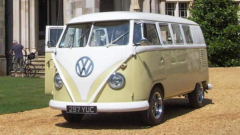 Volkswagen Split Screen Camper Van wedding car for hire in Christchurch, Dorset