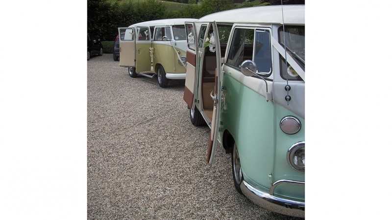 Volkswagen Split Screen Camper Van wedding car for hire in Christchurch, Dorset