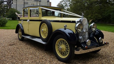 Lanchester Landaulette wedding car for hire in Bridgwater, Somerset