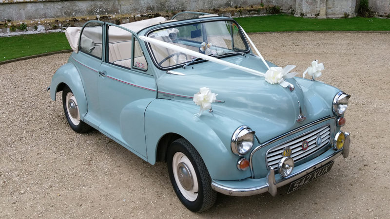 Morris Minor Convertible wedding car for hire in Bournemouth, Dorset