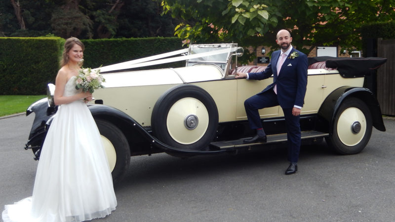 Rolls-Royce Phantom I Convertible wedding car for hire in East Grinstead, West Sussex