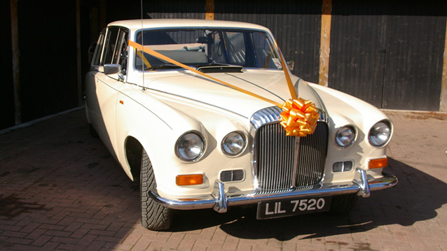 Daimler DS420 State Landaulette wedding car for hire in Lewes, East Sussex