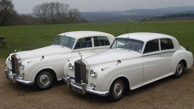 A Pair of Rolls-Royce Silver Cloud 1's wedding car for hire in Chichester, West Sussex