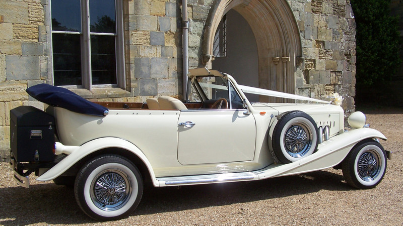Beauford Convertible wedding car for hire in Lewes, East Sussex