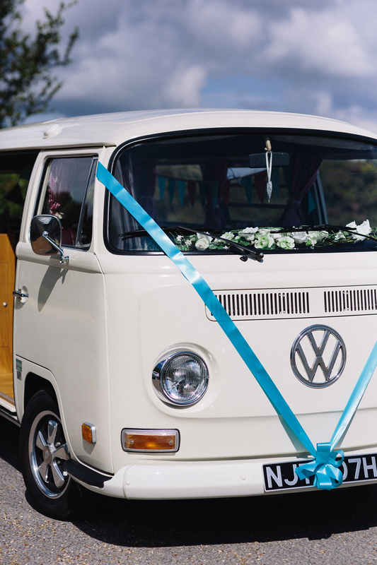 Volkswagen Campervan decorated with Wedding Ribbons