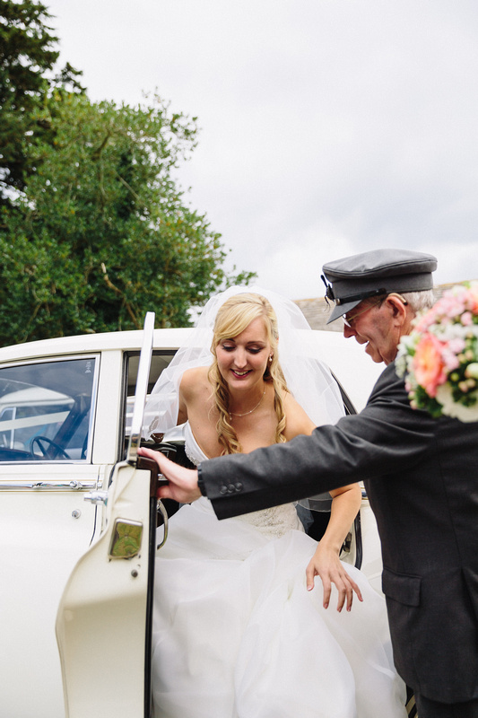 Nikki getting out of the Wedding Car ion Dorset