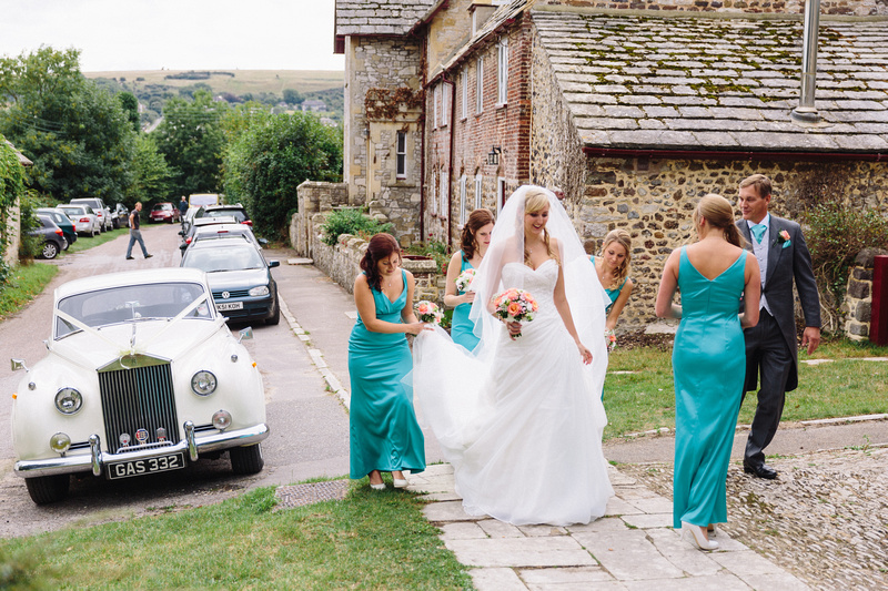 Bride and her Bridesmaids at St James Church, Swanage, Dorset