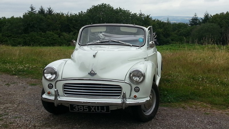 Morris Minor Convertible wedding car for hire in Taunton, Somerset