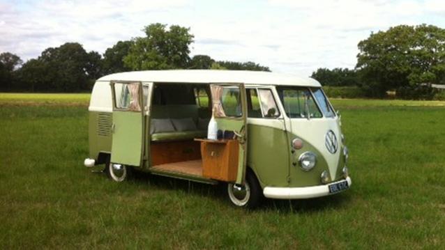 Volkswagen Split Screen Campervan wedding car for hire in Guildford, Surrey