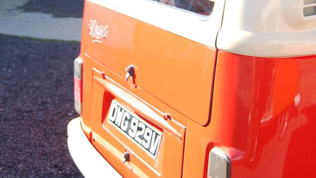 Volkswagen Bay Window Campervan wedding car for hire in Guildford, Surrey