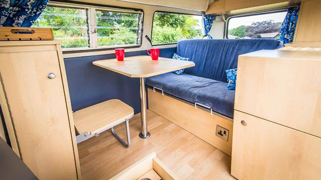 Volkswagen Bay Window Campervan wedding car for hire in Guildford, Surrey