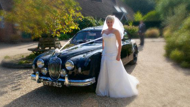Jaguar MK I wedding car for hire in Ashington, West Sussex