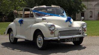 Morris Minor Convertible wedding car for hire in Fareham, Hampshire