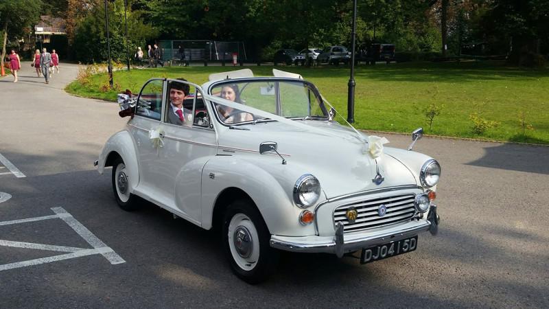 Morris Minor Convertible wedding car for hire in Fareham, Hampshire