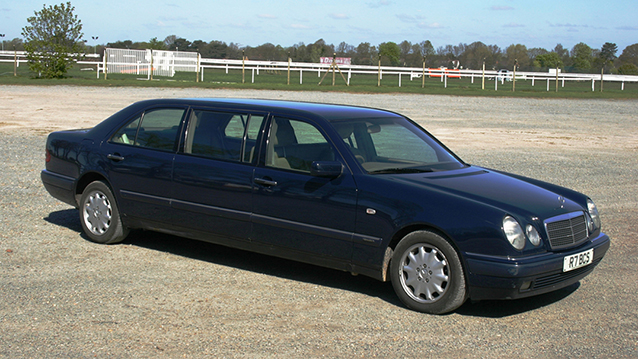 Mercedes 'E' Stretched Limousine wedding car for hire in Cobham, West London