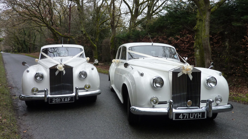 A Pair of Rolls-Royce Silver Cloud I's wedding car for hire in Wareham, Dorset
