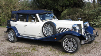 Beauford Open Tourer Convertible wedding car for hire in Ross-on-Wye, Herefordshire