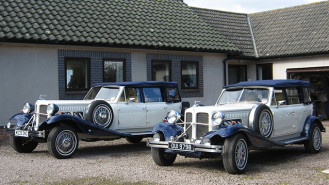 A Pair of Vintage Style Beauford Convertibles wedding car for hire in Bristol, Somerset