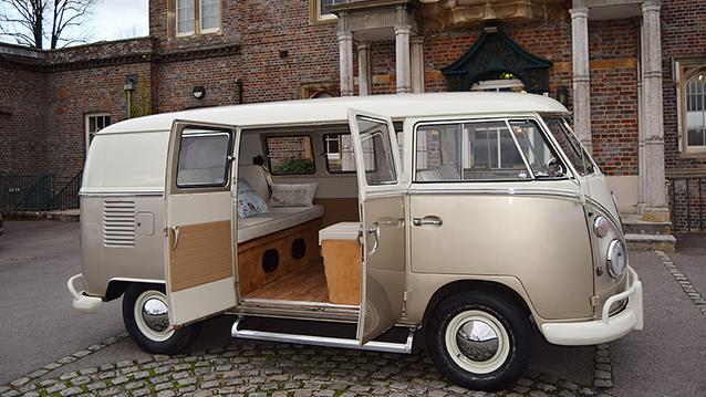 Volkswagen Split Screen Camper Van wedding car for hire in Thatcham, Berkshire