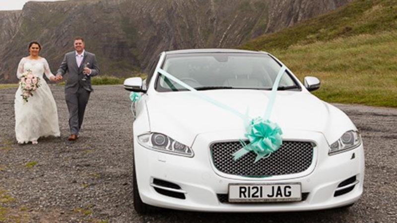 Jaguar XJ LWB wedding car for hire in Bideford, Devon
