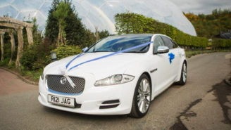 Jaguar XJ LWB wedding car for hire in Bridgwater, Somerset