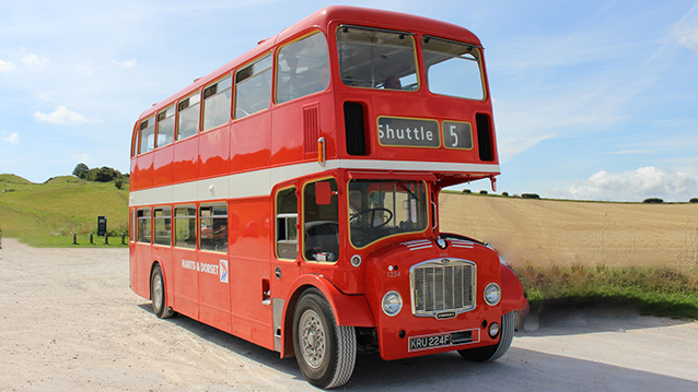 Bristol FLF Bus wedding car for hire in Bournemouth, Dorset