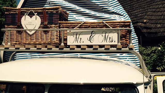 VW Splitscreen Campervan wedding car for hire in Bristol, Somerset