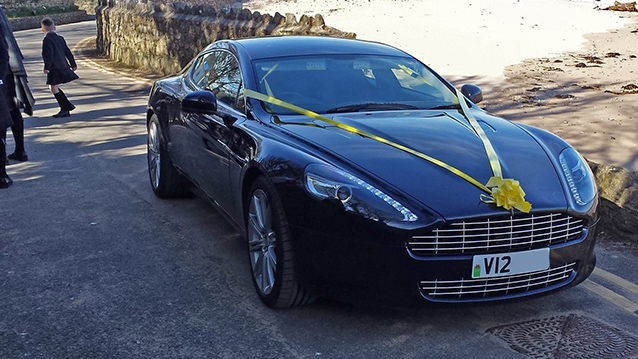 Aston Martin V12 Rapide wedding car for hire in Cardiff, South Wales