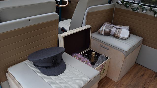 Volkswagen Bay Window Campervan wedding car for hire in Thatcham, Berkshire