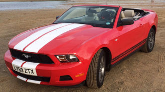 Ford Mustang Convertible wedding car for hire in Truro, Cornwall