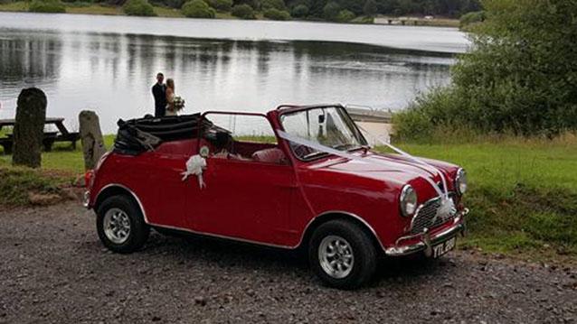 Mini Crayford Sprint Convertible wedding car for hire in Meshaw, Devon