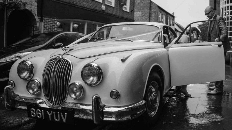 Jaguar MK II wedding car for hire in Altrincham, Cheshire