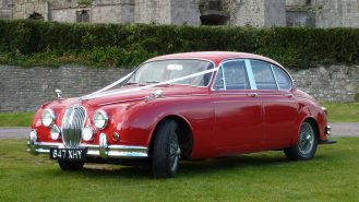 Jaguar MK II 3.8 Litre wedding car for hire in Usk, South Wales