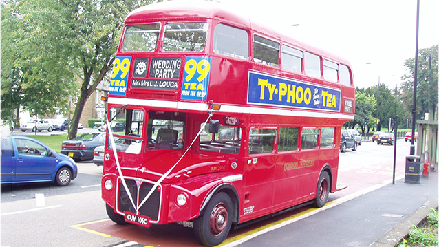 Routemaster London Bus wedding car for hire in Luton, Bedfordshire