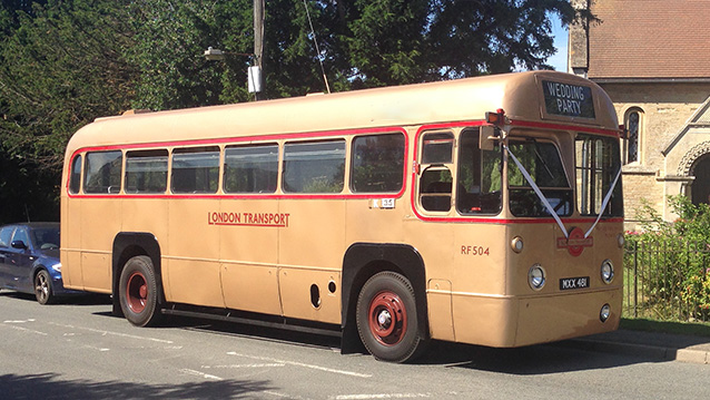 Regal AEC London Bus wedding car for hire in Oxted, Surrey