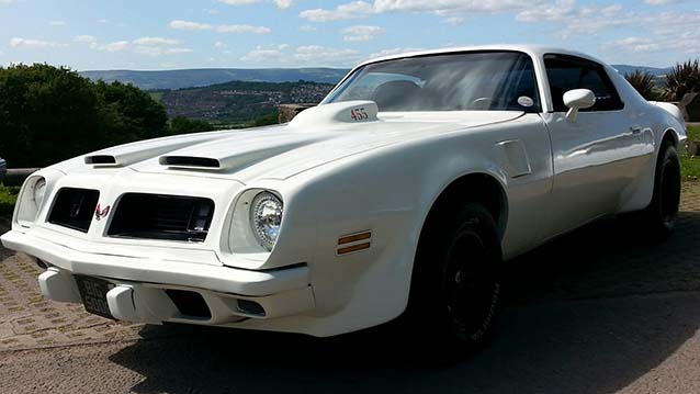 Pontiac Firebird wedding car for hire in Newport, South Wales