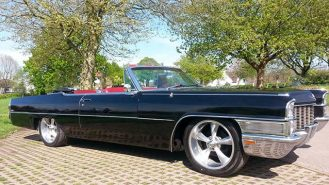 Cadillac De Ville Convertible wedding car for hire in Newport, South Wales