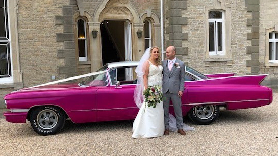 Cadillac Sedan de Ville wedding car for hire in Newport, South Wales